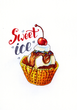 Sketch picture of sweet dessert ice cream with cherry