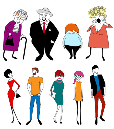 Set of cartoon people different ages Vector