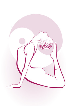 Beautiful girl in the yoga position Vector