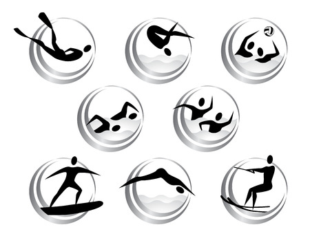 Vector icons of summer water sports  Vector