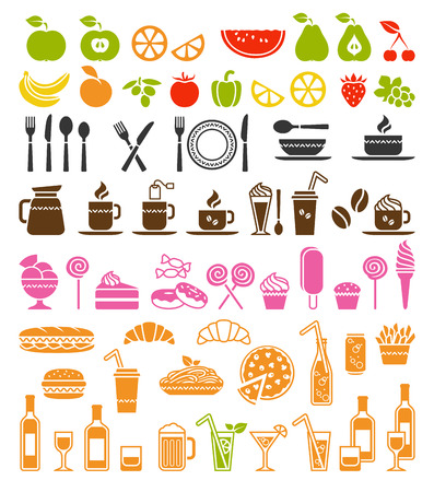 Big vector set of food and drink icons Vector