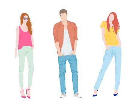 Young fashion boy and two girls Vector