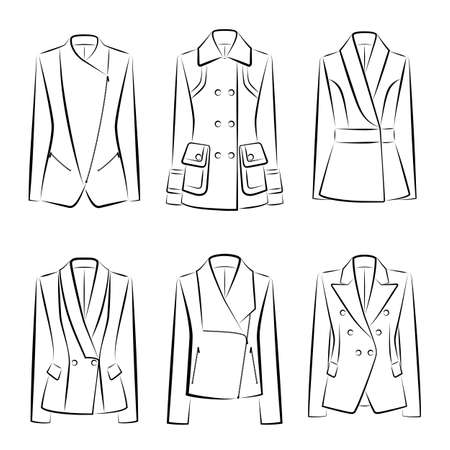 Set of vector isolated women's jackets, front view
