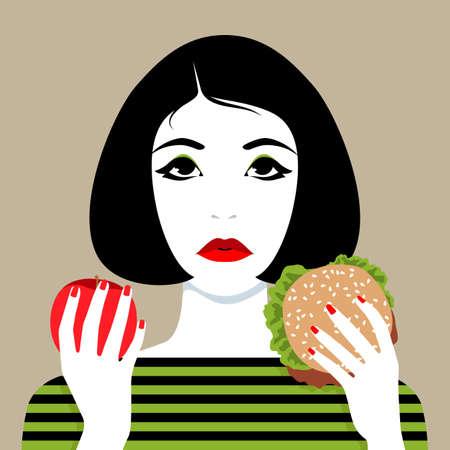 Beautiful young woman making choice between apple and hamburger, simple vector illustration