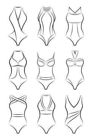 Vector set of different fashionable women swimsuits for summer vacation in black and white color, front view