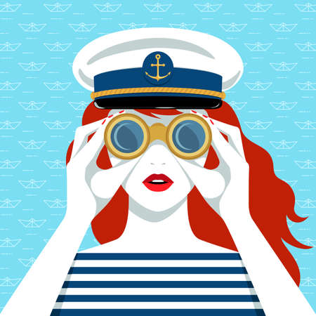 Vector portrait of beautiful young redhead woman, wearing striped shirt and navy cap, looking through binoculars against blue background with paper boats pattern