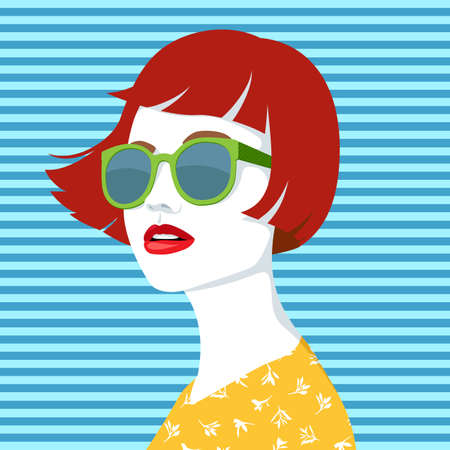 Vector portrait of young beautiful redhead woman with modern green sunglasses wearing yellow shirt with white floral pattern against blue striped background, simple vector illustration Vektorgrafik