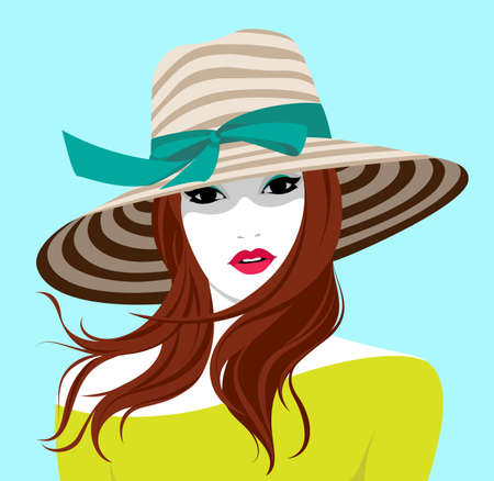 Vector portrait of beautiful young relaxed woman with long wavy red hair wearing large striped beach hat for sun protection and skin care during vacation traveling