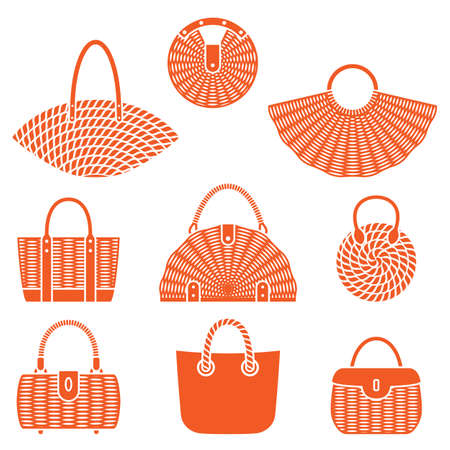 Big set of wicker fashionable bags, stylish summer personal accessories for women, vector illustration isolated on white background