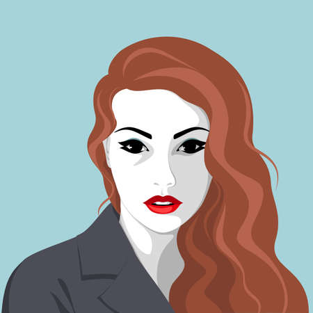 Vector portrait of stylish serious young woman with long hair wearing coat or jacket