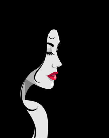 Vector illustration of beautiful romantic young woman with full red lips and long black hair, looking over her naked shoulder against black background