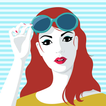 Beautiful young redhead woman taking off stylish big sunglasses, against blue striped background Vector Illustration