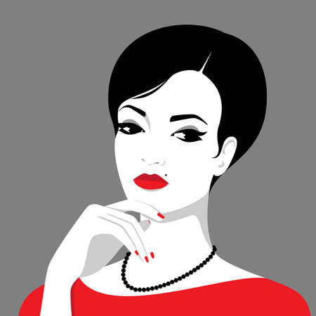 Vector portrait of beautiful thinking woman with beauty spot on her face