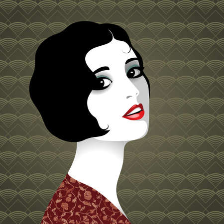 Vector portrait of beautiful elegant retro woman with short black hair, wearing dress with floral pattern against background with geometrical pattern