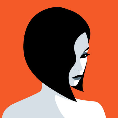 Vector portrait of beautiful young sad woman