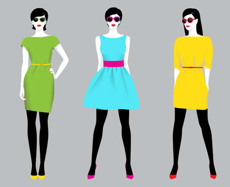 Vector illustration of the three fashion women wearing dresses