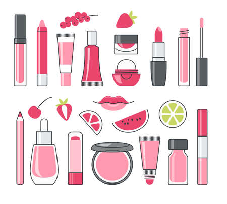 Vector set of decorative cosmetics in pink and red color Ilustracja