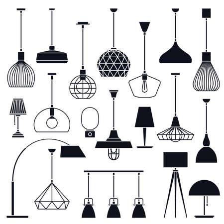 Big set of different vector indoor lights