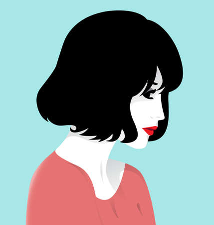 Vector illustration of beautiful diffident young woman, profile
