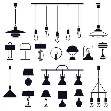 Big set of different vector indoor lights Ilustracje wektorowe