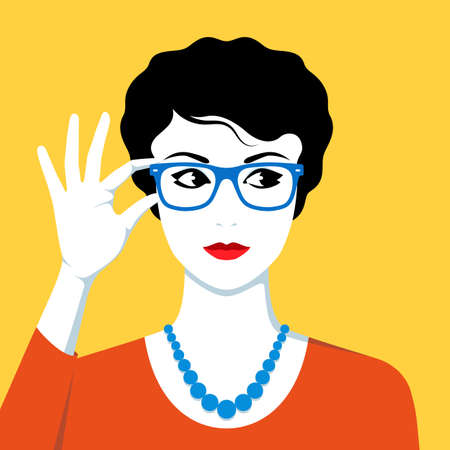 Vector illustration of beautiful woman wearing eyeglasses