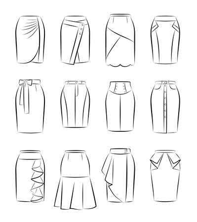 Big vector collection of different women skirts Vetores