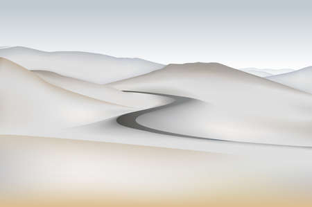 Vector illustration of the road to the desert mountain