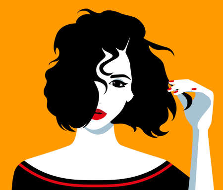 Vector illustration of the beautiful young girl holding her unruly black hair