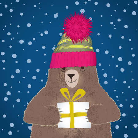 Vector illustration of cute bear wearing cup with pompom holding gift in snowing night Vettoriali