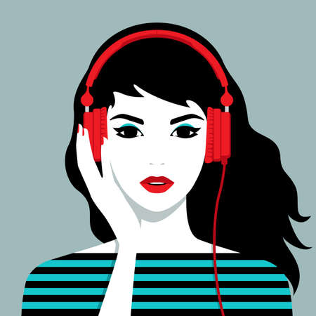 Vector illustration of the beautiful smiling girl with headphones on her head