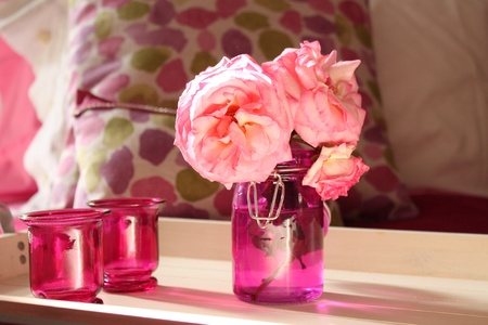 pillows: Pink pots and roses Stock Photo