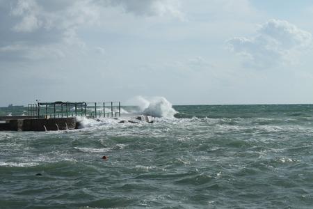 storm background: Livorno, rough seas