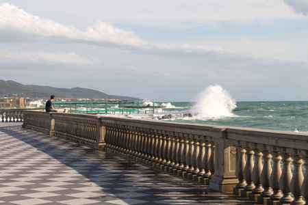 leghorn: Mascagni terrace in front of the sea - Livorno Tuscany, Italy