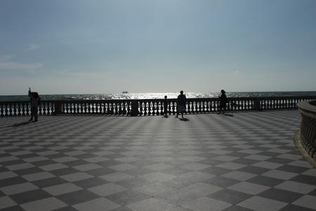 leghorn: Mascagni terrace in front of the sea, Livorno Tuscany, Italy Stock Photo