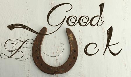 buena suerte: Herradura en un fondo de la vendimia - Buena suerte