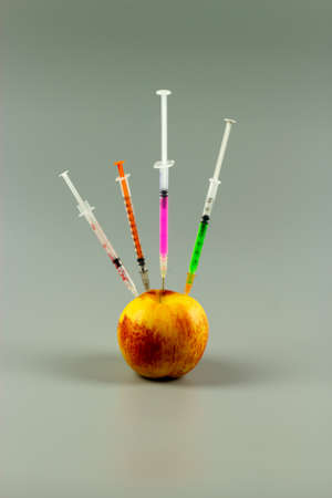Syringes with needles prepared for injection