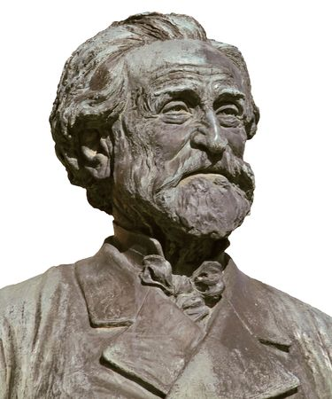 Giuseppe Verdi, famous italian opera composer; isolated on white from bronze bust imagine Stock Photo