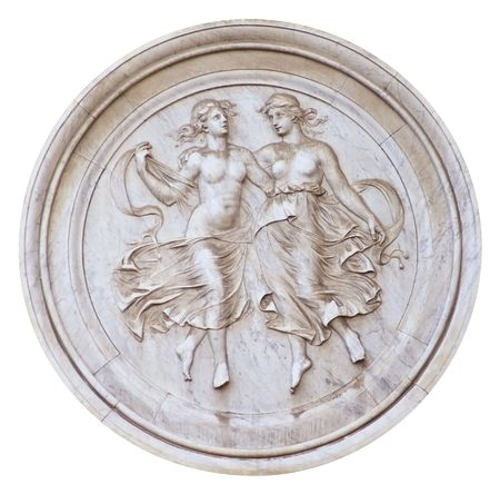 Marble bas relief portraying two dancing nymphs. Isolated on white Stock Photo - 6901125