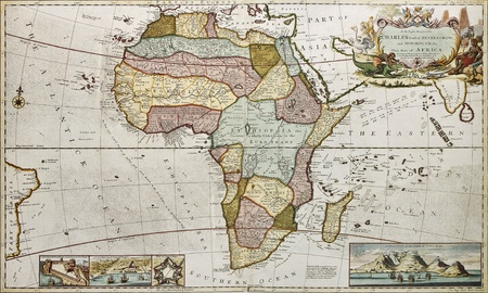 moll: Africa old map. Created by Frederick Herman Moll, published in London, 1710