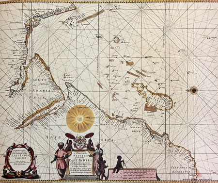 Eastern Africa and south-western  Asia old map. From Atlas Maritimus. Created by John Sellers, published in London, 1675