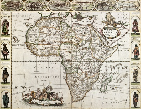 Africa old map. Created by Frederick De Wit, published in Amsterdam, 1660