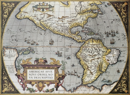 framed picture: America old map, from Theatrum Orbis Terrarum, the first Atlas in the world. Created by Abraham Ortelius, published in Antwerp, 1570 Editorial