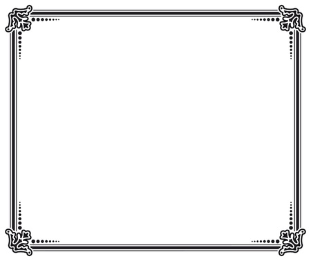 page decoration: black and white vector frame Illustration