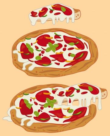 Italian handmade pizza: tomato sauce, pepper, mozzarella, basil Vector