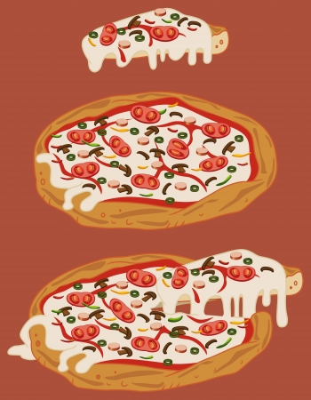 Italian handmade pizza: tomato, pepper, mozzarella, mushrooms, sliced green olives, sliced sausage Stock Vector - 14827853