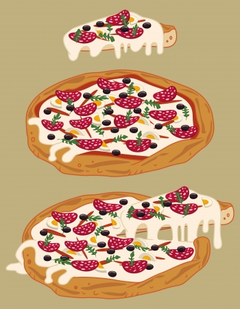 Italian handmade pizza: tomato sauce, rocket, mozzarella, salami, black olives, hard boiled eggs Vector