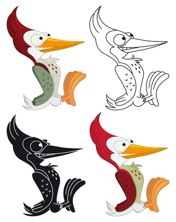 Woodpecker cartoon style, four different arrangements Vector
