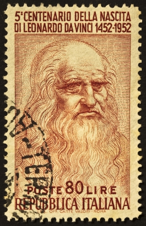 ITALY - CIRCA 1952: A stamp printed in Italy celebrates the fifth centenary of Leonardo da Vincis birth, famous italian renaissance genius. Italy, circa 1952