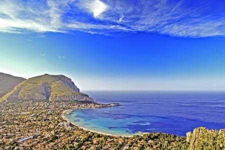 mondello: Panoramic view of Mondello beach, near Palermo, Sicily