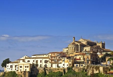 Cathedral towers above Monreale small town, near Palermo, Italy photo